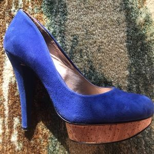 BCBG blue Suede heels with wood bottom-8.5